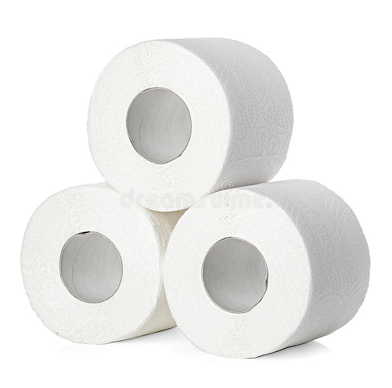 Toilet paper close-up isolated on a white royalty free stock photography
