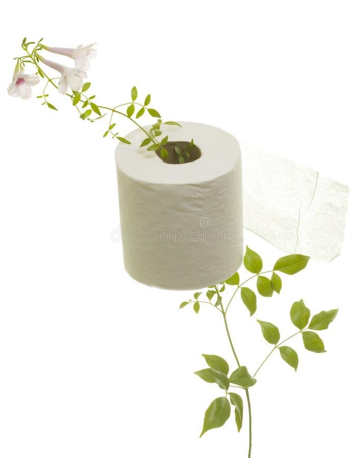 Toilet Paper with Flower Grown through. Toilet paper with fresh flower grown through; isolated on white background stock photo