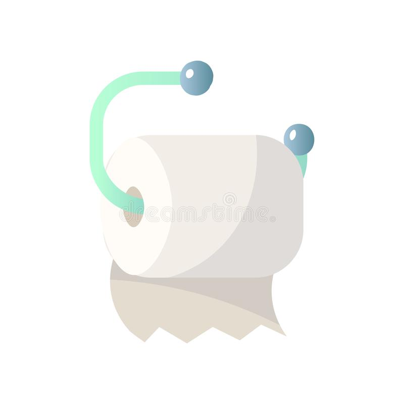 Toilet paper hanging on green roll holder connectors isolated on white background. Close-up view. Toilet paper hanging on green roll holder connectors isolated royalty free illustration