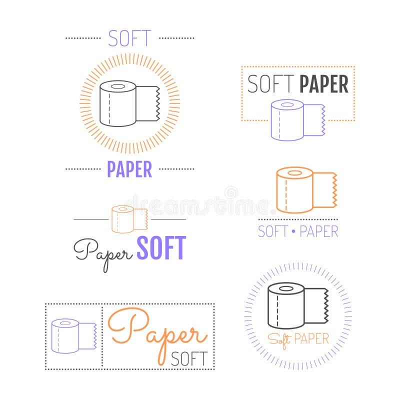 Toilet paper icon, emblems, labels. Set of logos stock illustration