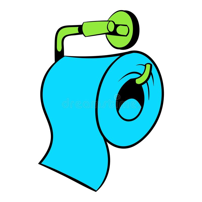 Toilet Paper Icon In Cartoon Style Stock Vector