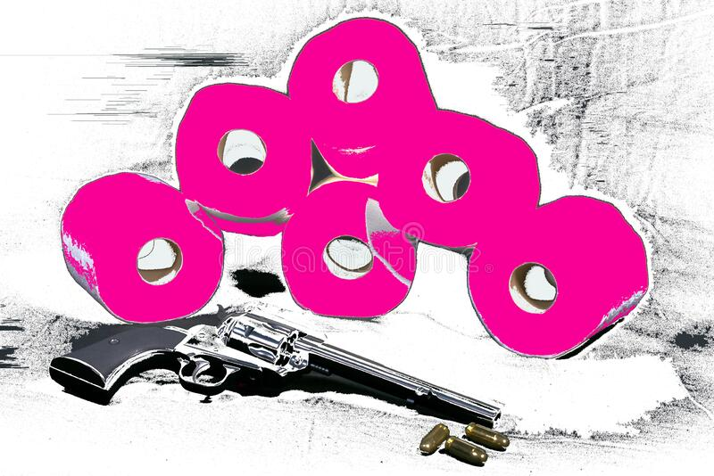 Toilet paper with a 357 magnum revolver. Graphic design of toilet toilet and a 357 magnum revolver with 357 rounds on a table stock photography