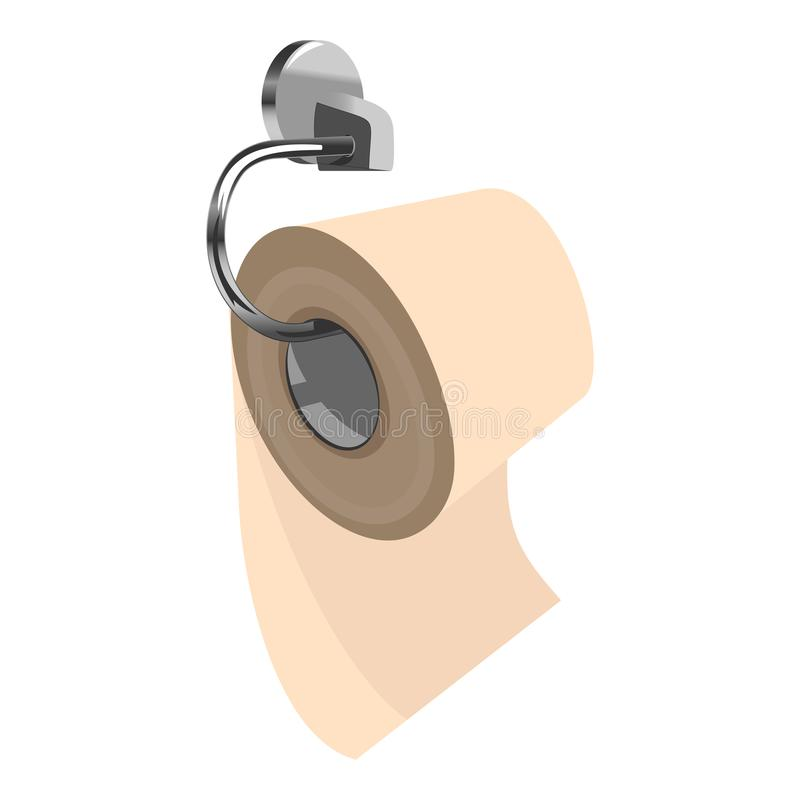 Toilet paper on metal paper holder. Roll of yellow toilet paper on metal paper holder. Three quarters view. Clipart vector illustration vector illustration