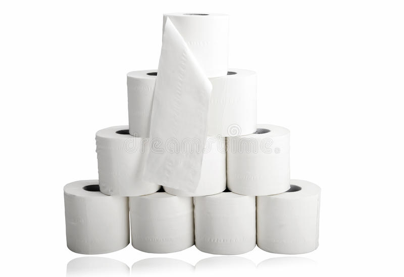 Toilet paper in pyramid shape stock photos