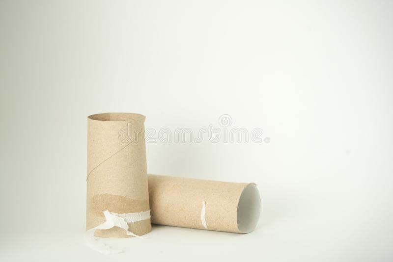 Toilet Paper Roll All Used Up Isolated on White Background. Sanitary, cardboard, empty, clean, bathroom, dispenser, size, recycle, industrial, model, loo royalty free stock photography