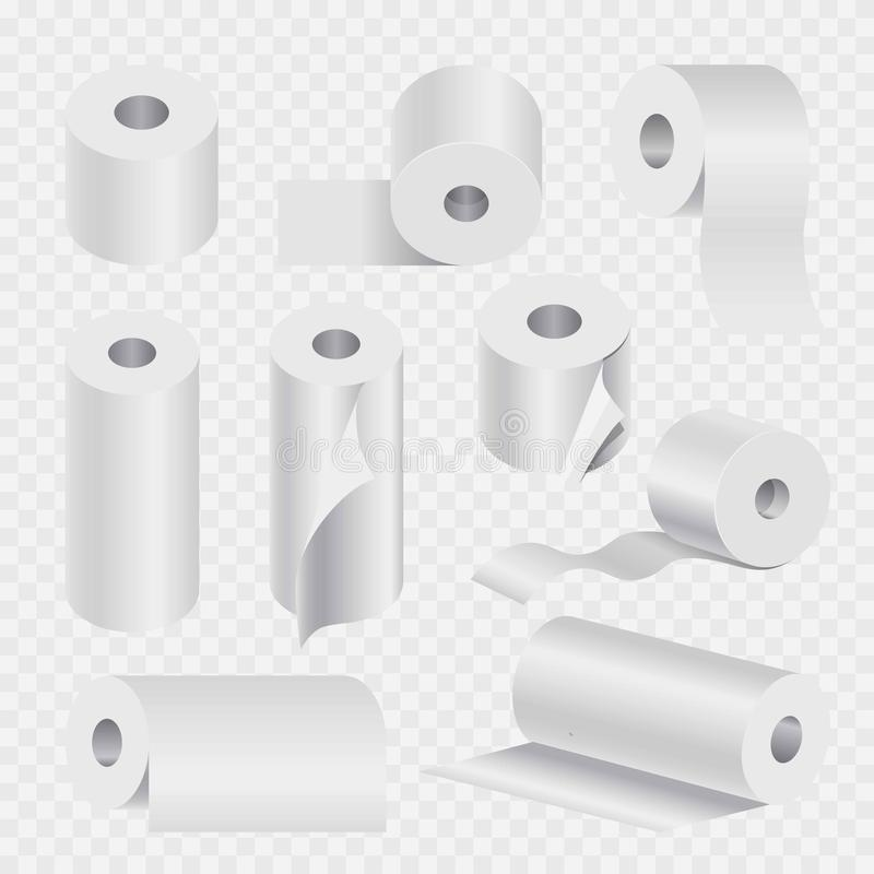 Toilet paper roll or kitchen towel 3D vector icons set royalty free illustration