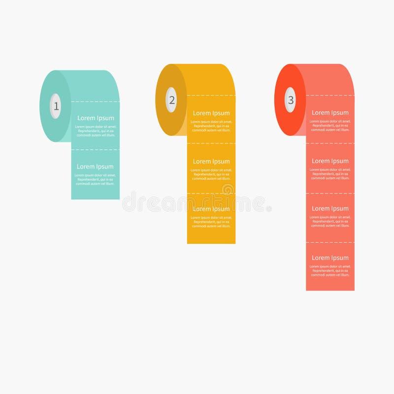 Toilet paper roll set Dash line Flat design Three step Infographic Template. Vector illustration stock illustration