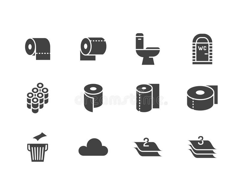 Toilet paper roll, towel flat glyph icons. Hygiene vector illustrations, mobile wc, restroom, tree layered napkin. Signs. For household goods store. Solid royalty free illustration