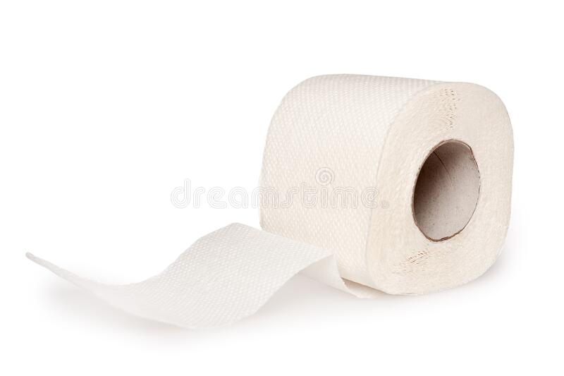 Toilet paper rolls perforated close up stock photos