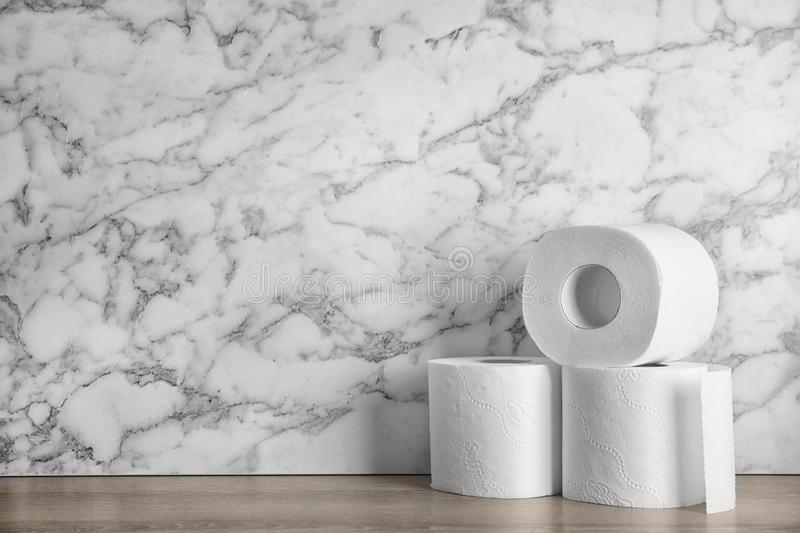 Toilet paper rolls on table stock image