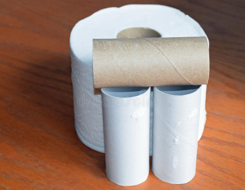 Empty toilet paper rolls. stock photography