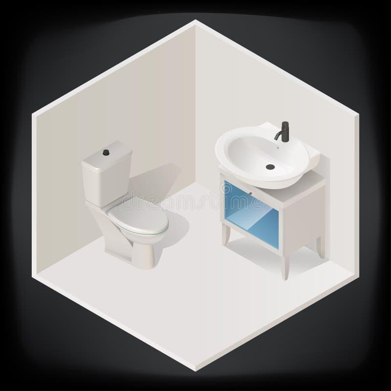 Vector Isometric Rooms Icon Stock Vector: Toilet Room Interior Isometric Vector Stock Vector