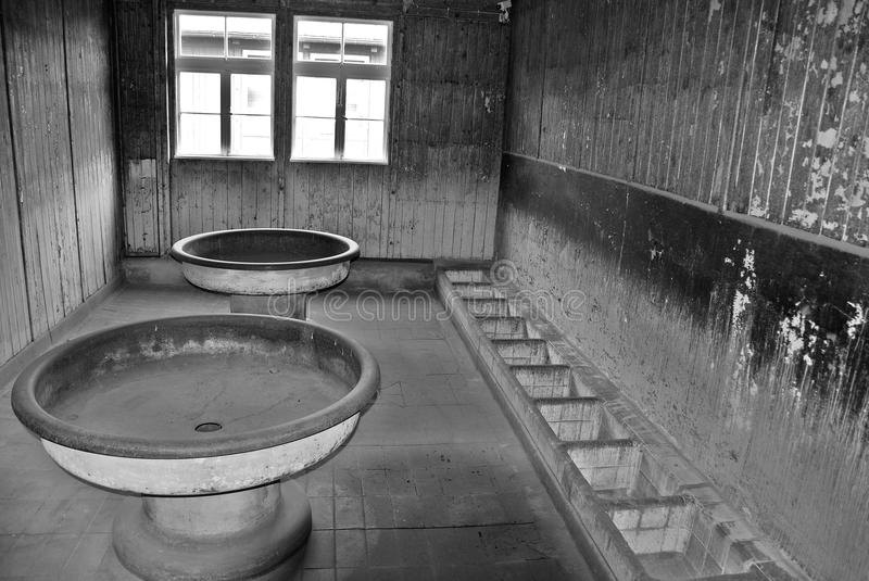 Toilet in the Sachsenhausen-Oranienburg. SACHSENHAUSEN-ORANIENBURG GERMANY MAY 24 2010: Toilet in the Sachsenhausen-Oranienburg was a Nazi concentration camp in stock images