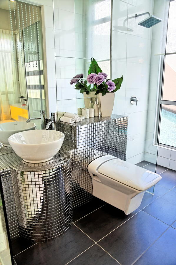 Toilet and shower stock images