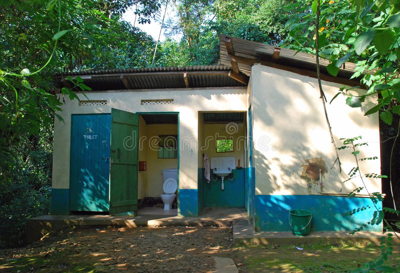 Toilet and shower building at an African site stock photography