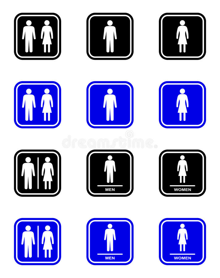 Toilet sign. Male and female toilet sign royalty free illustration