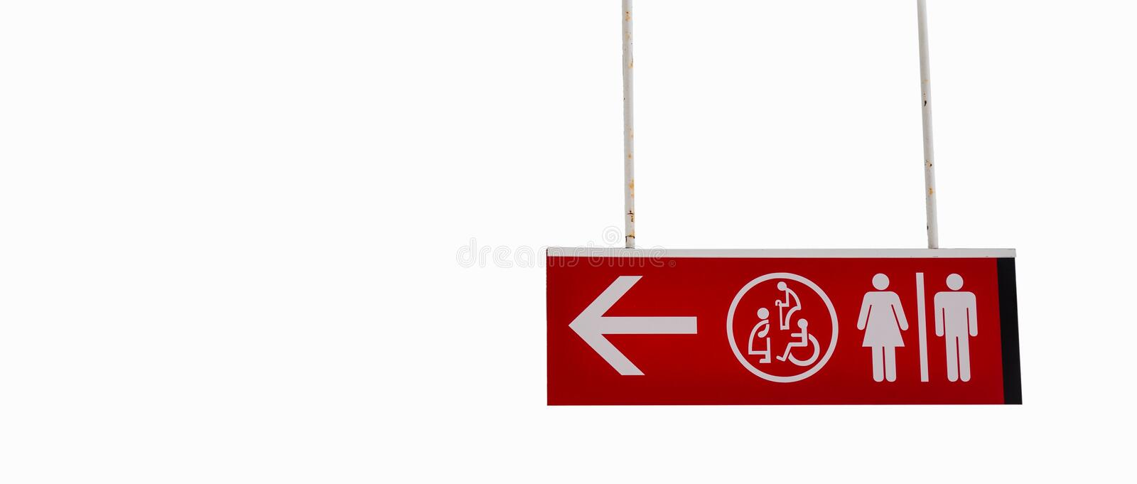 Toilet sign dicut on white background,Clipping - path. Toilet sign dicut on white background,Clipping - path stock photo