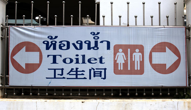Toilet sign Men and Women 3 languages Thai , English , Chinese royalty free stock images