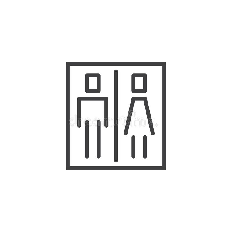 Toilet sign outline icon royalty free illustration