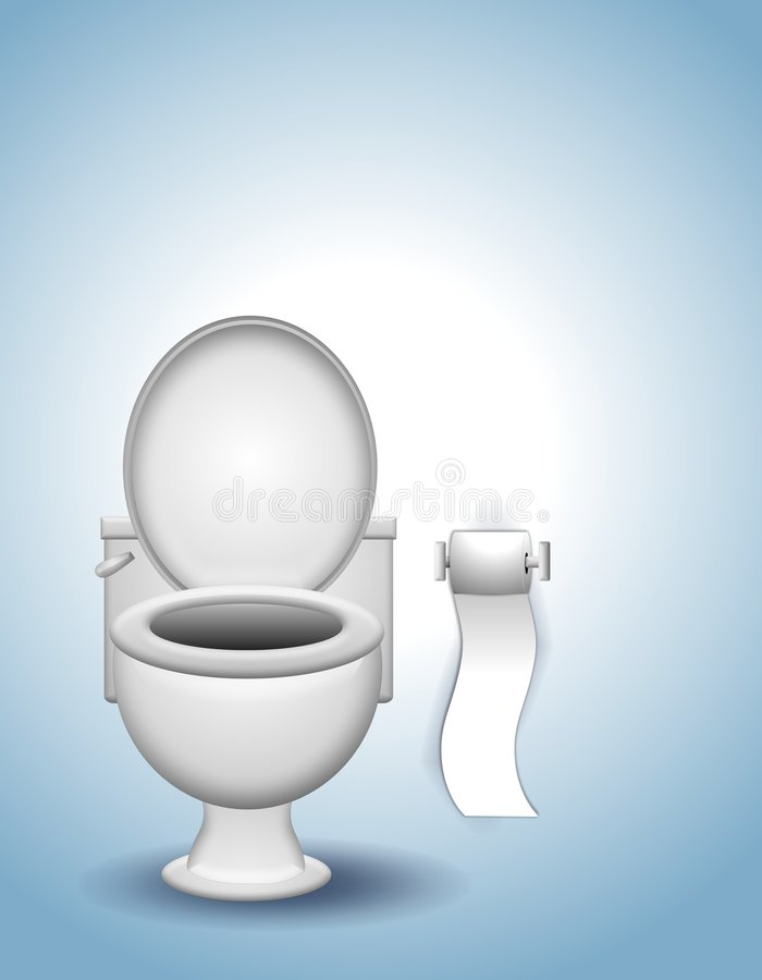 Toilet and Toilet Paper royalty free illustration