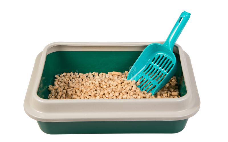 Toilet tray for cat with wood pellets royalty free stock images