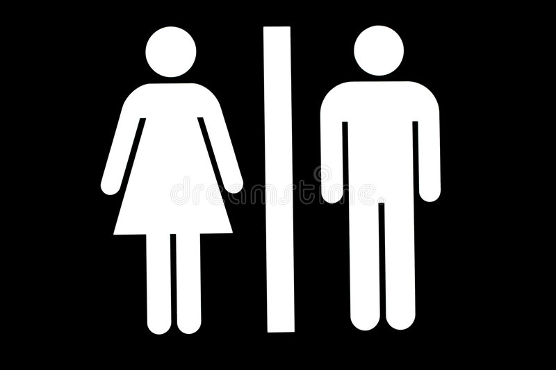 Toilet/Washroom Sign. Sign indicating Women's and Men's Toilets Ahead vector illustration