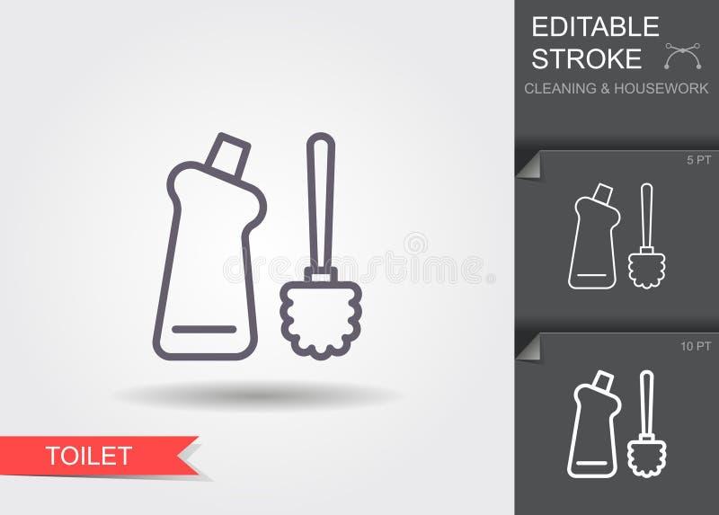 Toiletborstel en fles met reinigingsmachine Lijnpictogram met editable slag met schaduw vector illustratie