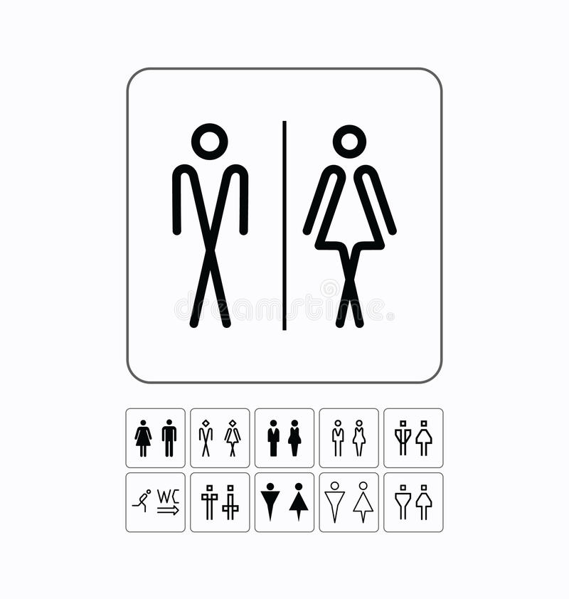 Toiletdeur/muurplaat Originele WC-geplaatste pictogrammen vector illustratie