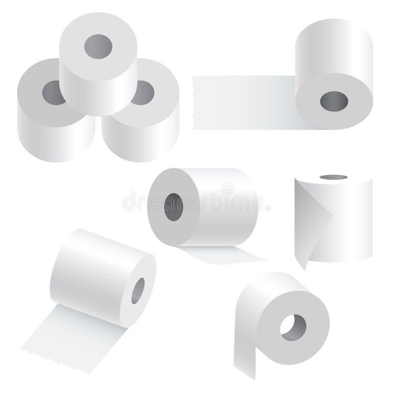 Toiletpapier dat op witte achtergrond wordt geplaatst. royalty-vrije illustratie
