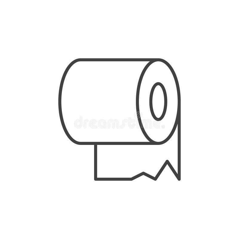 Toiletpapier lineair pictogram Het vectorsymbool van het toiletpapierconcept vector illustratie