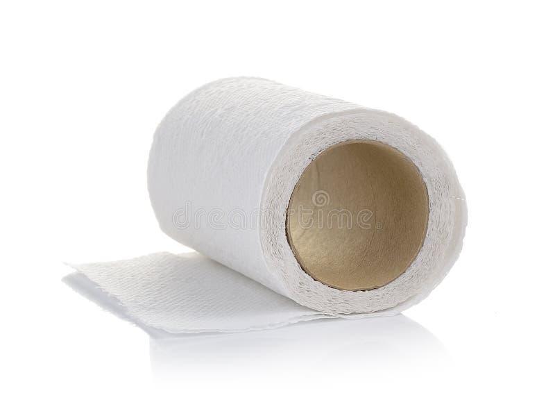 Toiletpapier op witte achtergrond royalty-vrije stock foto's