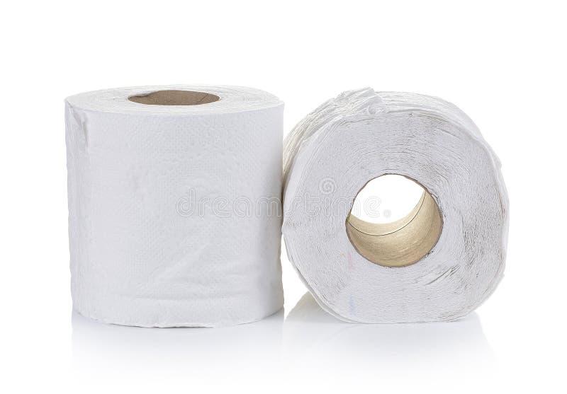 Toiletpapier op witte achtergrond royalty-vrije stock foto