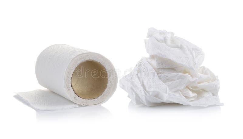 Toiletpapier op witte achtergrond royalty-vrije stock afbeelding