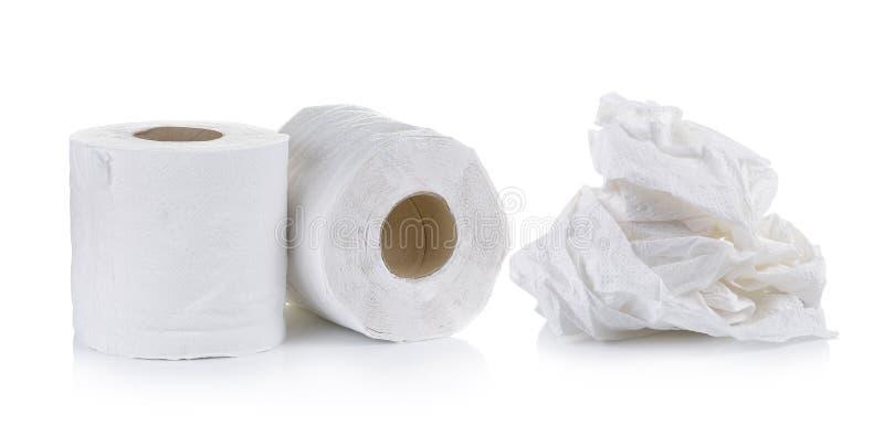 Toiletpapier op witte achtergrond stock foto