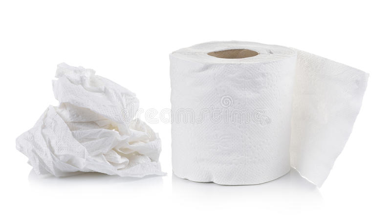 Toiletpapier op witte achtergrond royalty-vrije stock fotografie