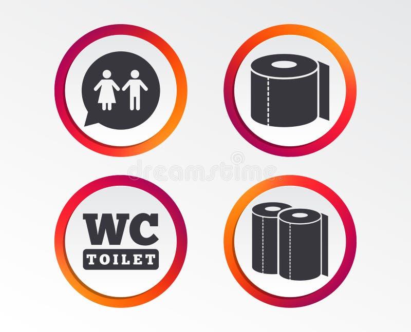 Toiletpapierpictogrammen Mijnheren en damesruimte vector illustratie