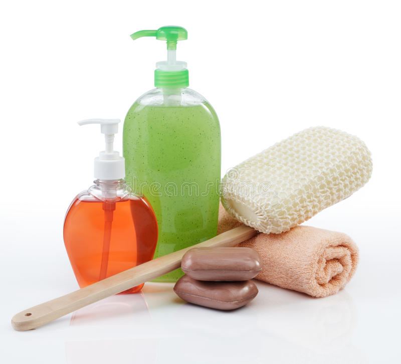 Toiletries. Different kind of toiletries on white background royalty free stock photography