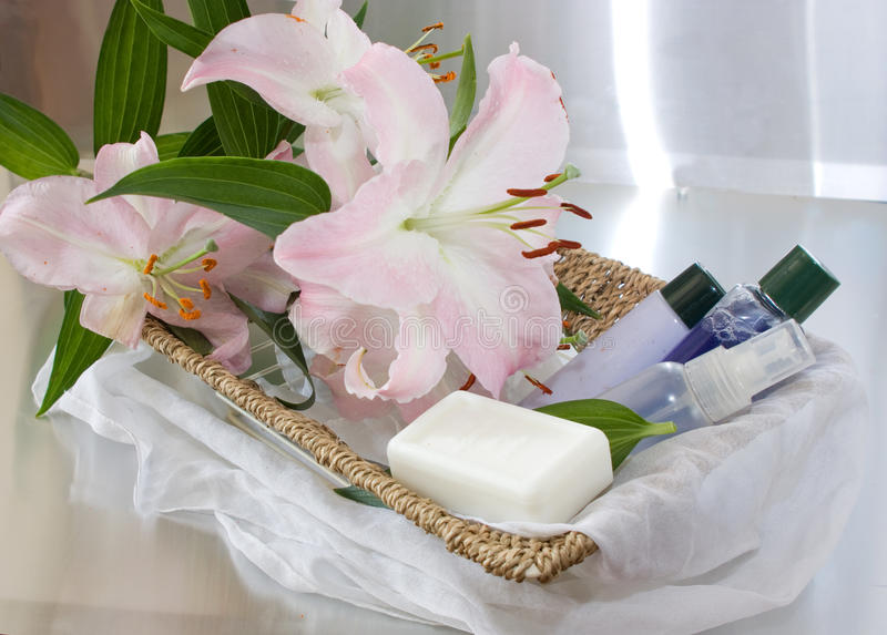 Download Toiletries In Basket And Pink Lily Stock Photo - Image: 11663288