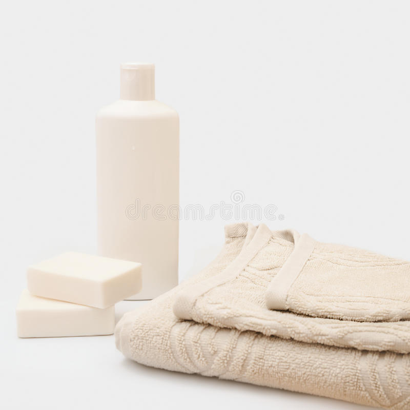 Toiletries for the bath stock photos