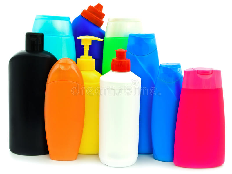 Toiletries bottles. Different toiletries plastic bottles over white background stock photo
