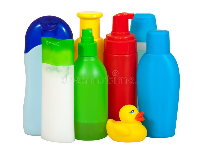 Toiletries bottles. Isolated on white backgrounds with clipping path stock photos