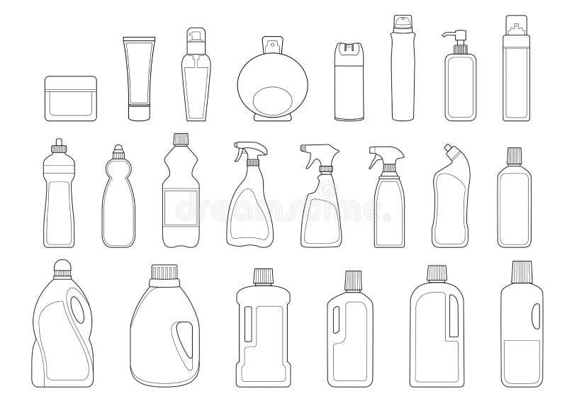 Toiletries butelek ikony set ilustracja wektor