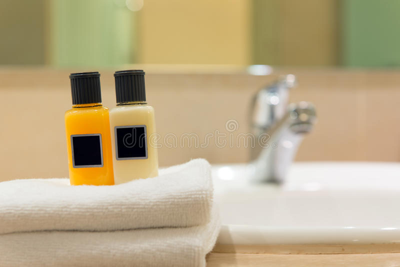 Toiletries. Closeup image of a set of toiletries near sink stock images
