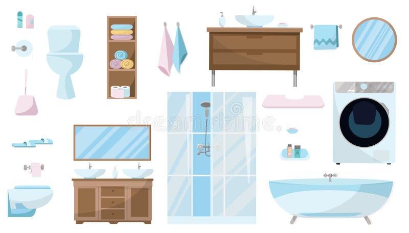 Toiletries reeks Meubilair, hygi?ne, materiaal en artikelen van hygi?ne voor de badkamers ge?soleerde de reeks van het badkamersm royalty-vrije illustratie