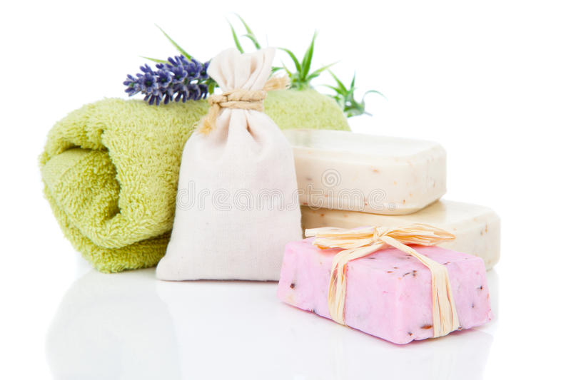 Toiletries for relaxation. Isolated on white background stock images