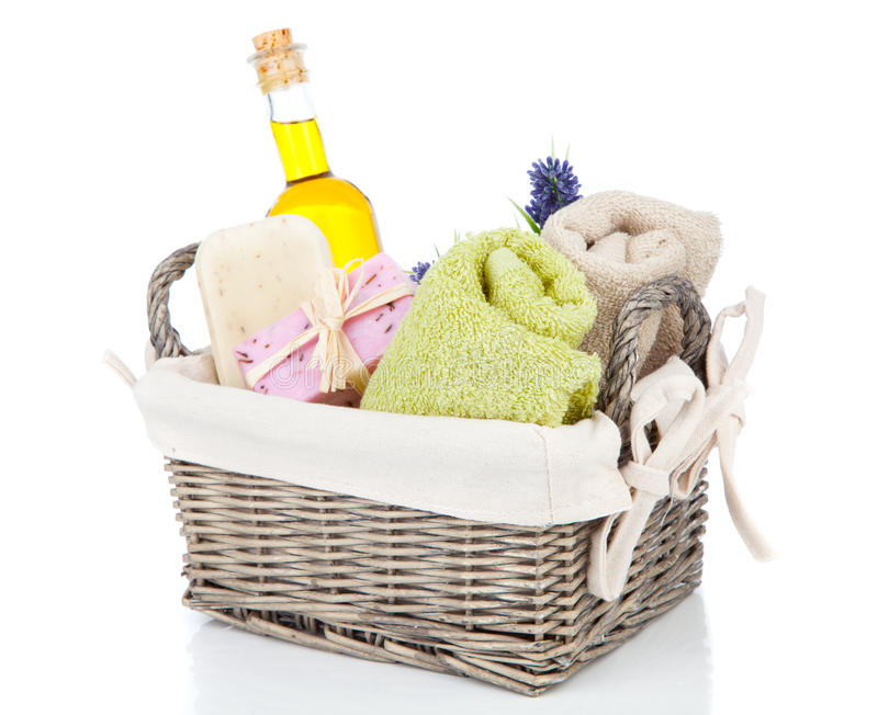 Toiletries for relaxation. On white background royalty free stock image