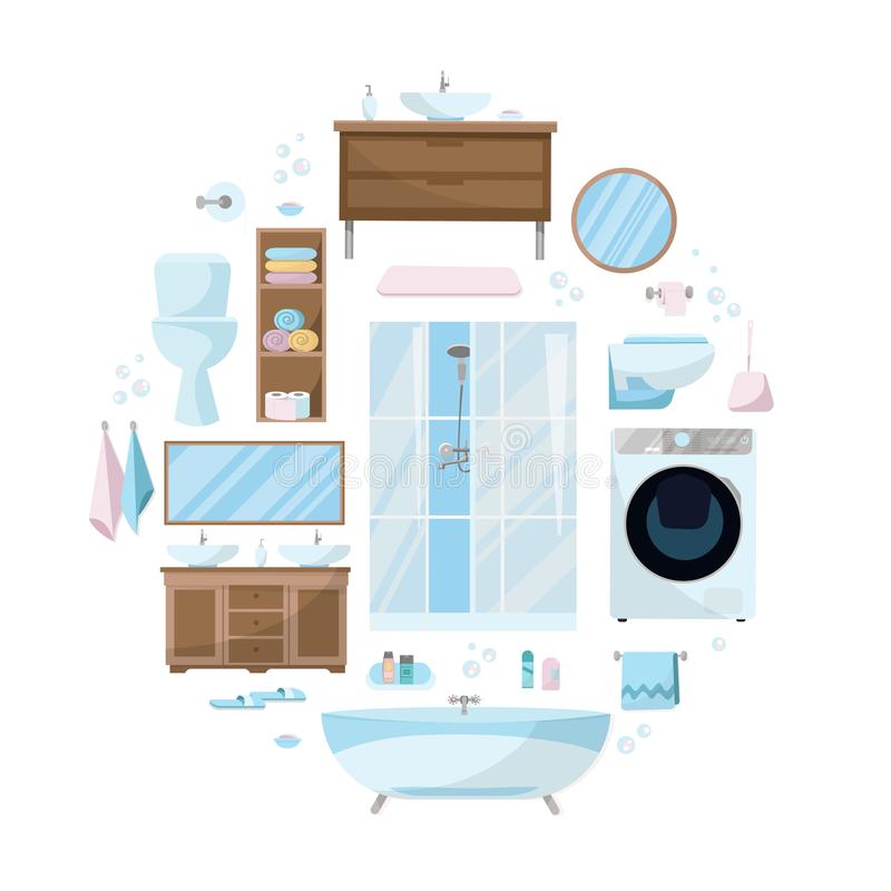 Toiletries set of Furniture, sanitation, equipment and articles of hygiene for the bathroom. Round composition.Bathroom furniture royalty free illustration