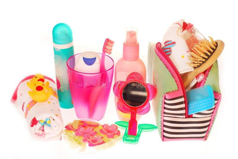 Toiletries Stuffs For Little Girl Royalty Free Stock Photo