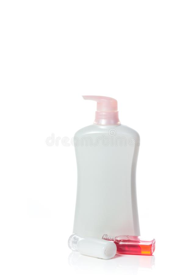 Toiletries. On white background stock photo