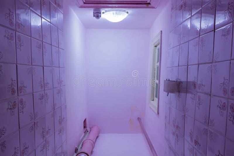 Toiletruimte met toilet Knippend inbegrepen weg De reparatie wordt vereist stock fotografie